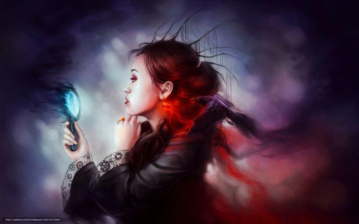 scaricare gli sfondi Arte, magia, ragazza, specchio Sfondi gratis per la risoluzione del desktop 1680x1050 — immagine №381227