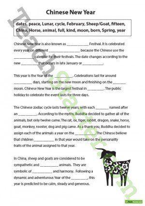 Chinese New Year Cloze Worksheet