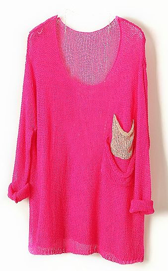 Loose Sweater: Slouchy Sweaters, Loose Sweaters, Sheer Pockets, Red Batwing, Neon Pink, Pink Sweaters, Neon Gold, Gold Pockets, Hot Pink Sweater