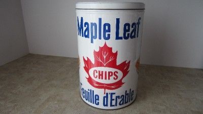 Vintage MAPLE LEAFS / FEUILLE D'ERABLE CHIPS Potato Chips Inc. TIN ...