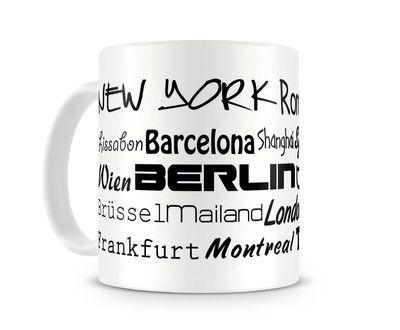 Tasse mit dem Motiv Städtenamen weltweit. Eine Tasse bedruckt mit dem Motiv Städtenamen weltweit