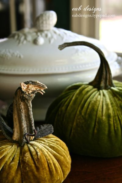 Velvet pumpkins tutorial  {finally found the blogger who makes the velvet ones that I love so much!  I thinking  one could use squash stems in a pinch~~~~enjoy!!!}