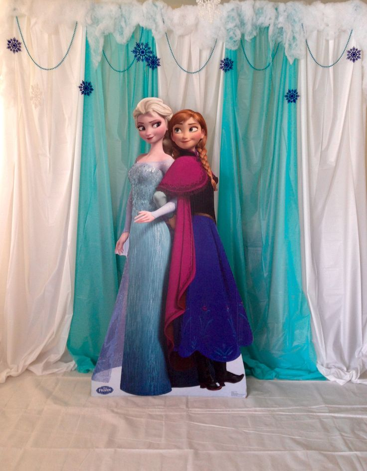 Frozen photo booth. Made with table clothes hanging from a PVC frame.