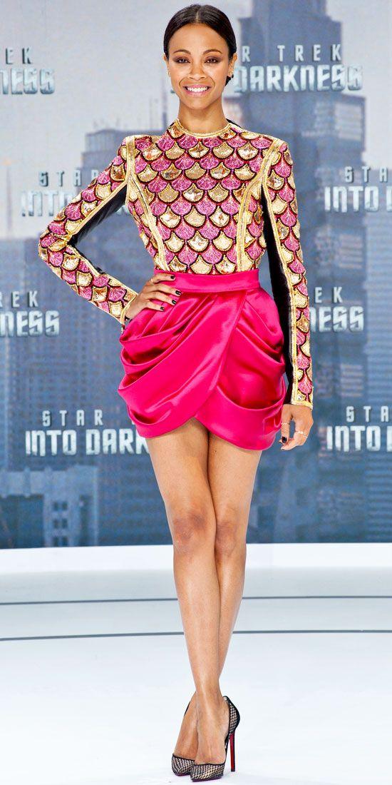 Zoe Saldana at the Berlin Stark Trek Into Darkness premiere '13 // #Balmains