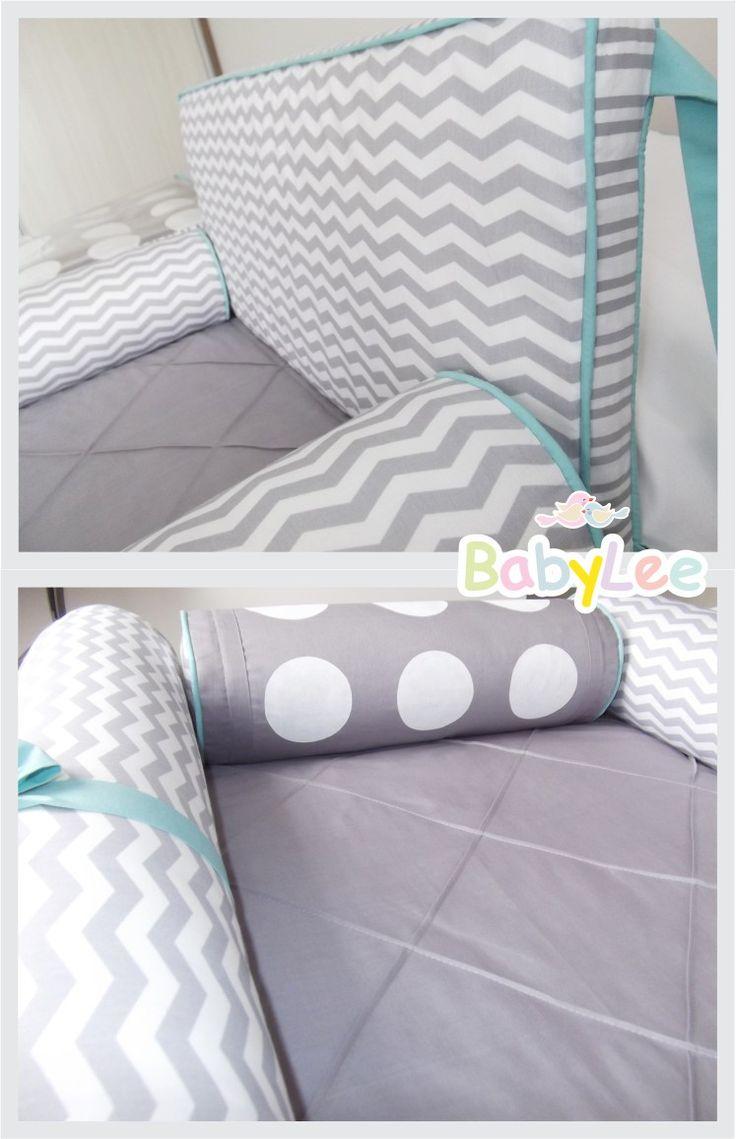 Kit berço chevron cinza e turquesa ....grey and turquoise chevron crib bedding