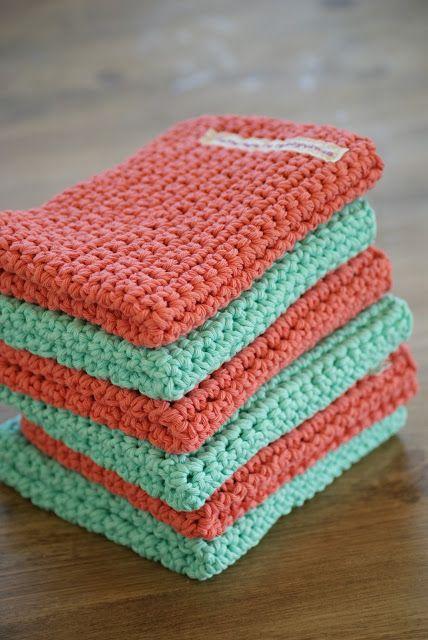 Hobbyvimsa: Handle nett og oppvaskkluter i korall & Mintgrønn.