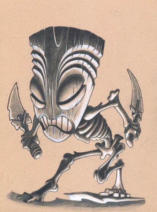 Tiki Art Girls   tiki # warrior # drawing
