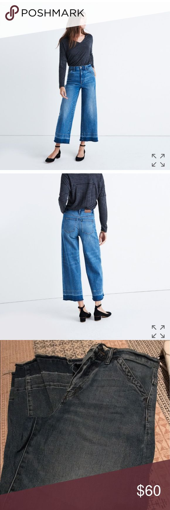 Madewell Wide Leg Crop in Drop Hem Good condition- definitely worn more than a few times and washed a few times but never dried on heat. Tiny imperfection- in last picture there's a small raised dark Thread bump- not at all noticeable! Very stretchy Madewell Jeans Flare & Wide Leg