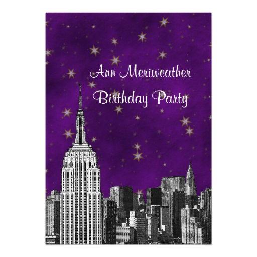 NYC ESB Skyline Etched Purple Starry Birthday V Custom Invites