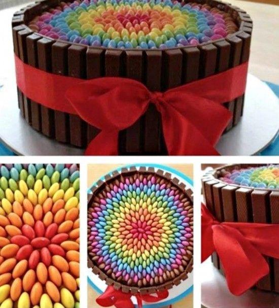 Chocolate Rainbow Smarties Kit Kat Cake - M&M Kit Kat Cake