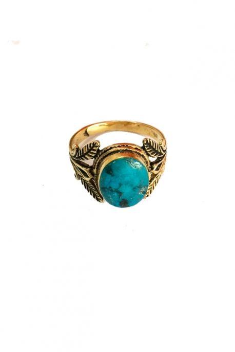 Bague plaqué or avec pierre turquoise XL