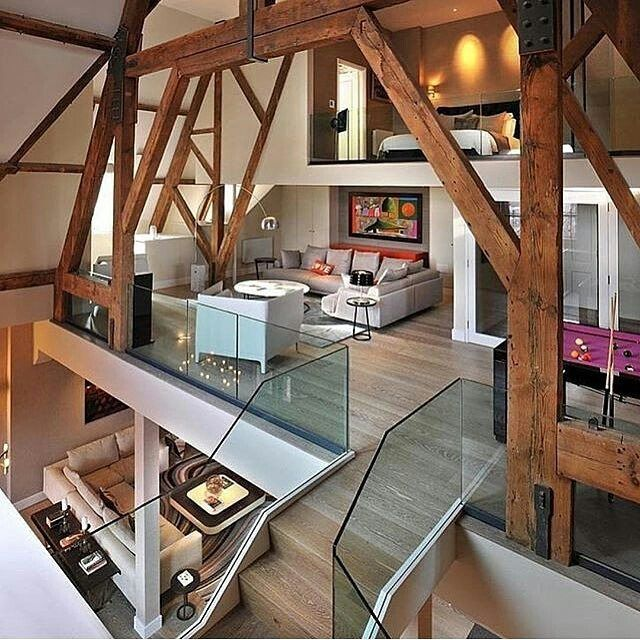 St. Pancras Penthouse with a beautiful wood interior! Via @classysavant! Tag someone to live here with! —- Photo by TG Studio!