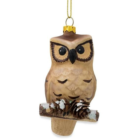 Owl on Branch with Pine Cones Glass Christmas Ornament 4.25 Inches