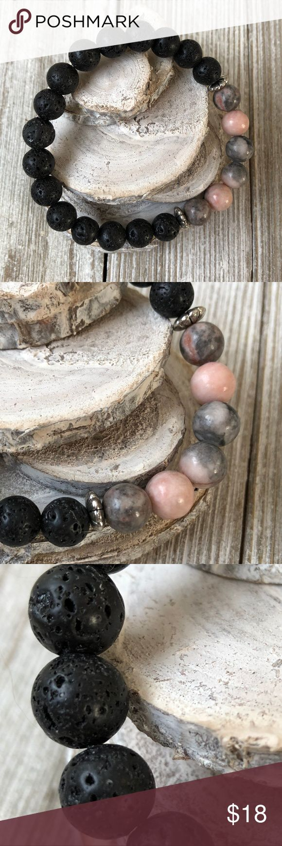 Essential Oil Diffuser Bracelet Jasper & Lava Rock 8 mm Jasper and Lava Rock beads, pink gray grey black, Made with Professional stretch cord Put essential oils on lava rocks to carry aroma with you! Essential Oils available on my website at top of closet in my banner, just click on website Lisa Halstead Jewelry Bracelets