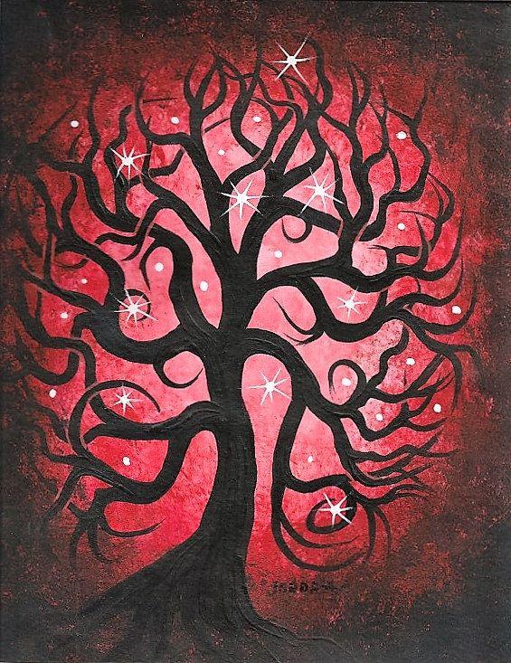 Tree painting, Red curly tree, stars, branches, original fine art, acrylic painting by Jordanka Yaretz