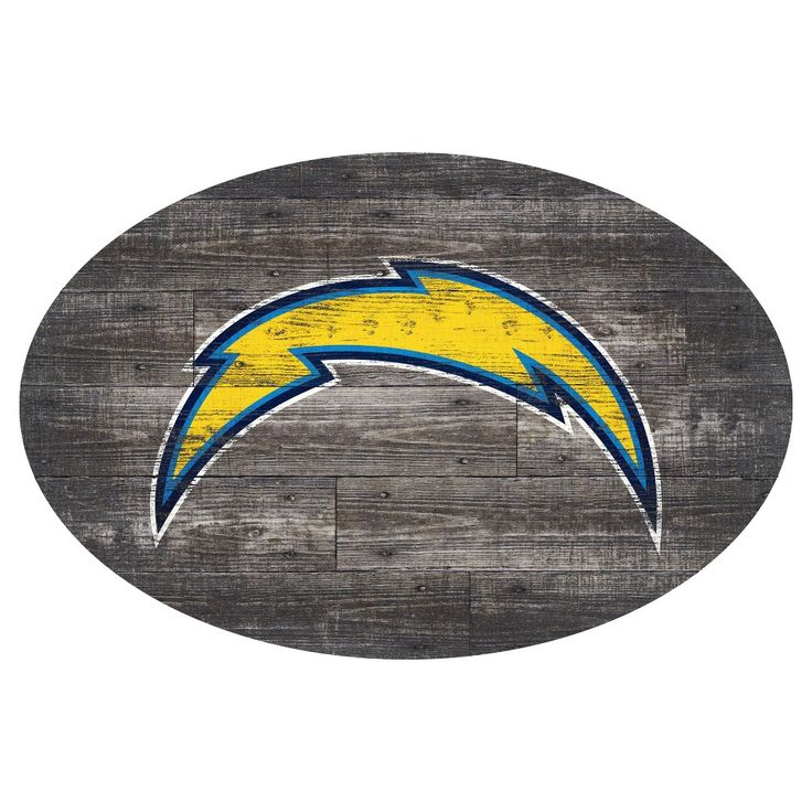 NFL Los Angeles Chargers 46 Distressed Wood Oval Sign