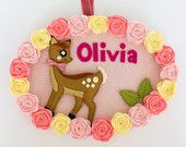 Deer with pink and cream roses personalised name plate / wall hanging. Made to order. By Babes in the Woods on etsy. $58. Posts to the whole world. https://www.etsy.com/shop/BabesintheWoodsShop