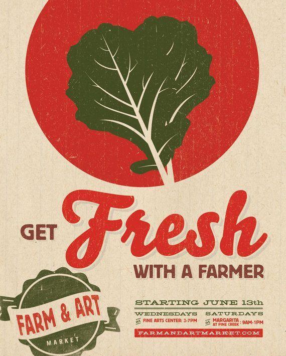 Farmers Market Poster  Get Fresh With A Farmer by austinbuck, $30.00