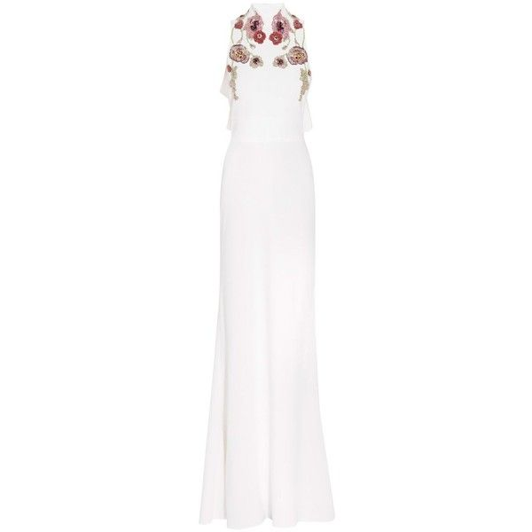 Alexander McQueen Ruffle Back Embroidered Gown ($3,308) ❤ liked on Polyvore featuring dresses, gowns, gown, neutral, open back evening gowns, evening dresses, evening gowns, white embroidered dress and evening ball gowns