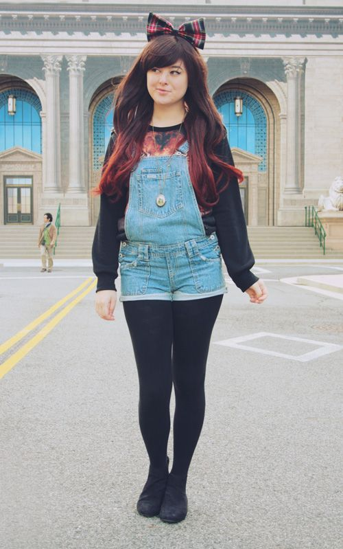 Super Cute Outfit A Sweater Under Short Overalls And