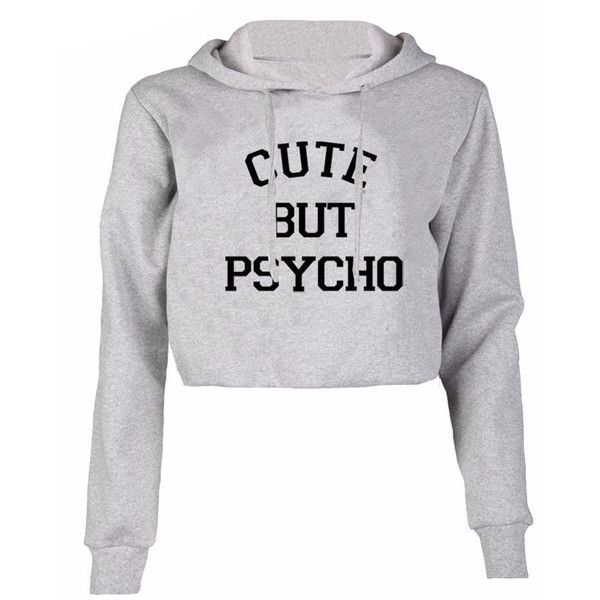 Cute but psycho cropped hoodie (355 PEN) ❤ liked on Polyvore featuring tops, hoodies, jackets, crop tops, shirts, sweatshirt hoodies, shirt hoodies, short sleeve tops, crop shirt and pullover shirt
