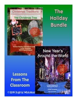 Holidays Informational Text Close Reading and Writing Bundle is a combination of Christmas Informational Text Close Reading and Activities and New Years Around the World Informational Close Reading and Writing Activity Pack. You get everything from both at a discount.
