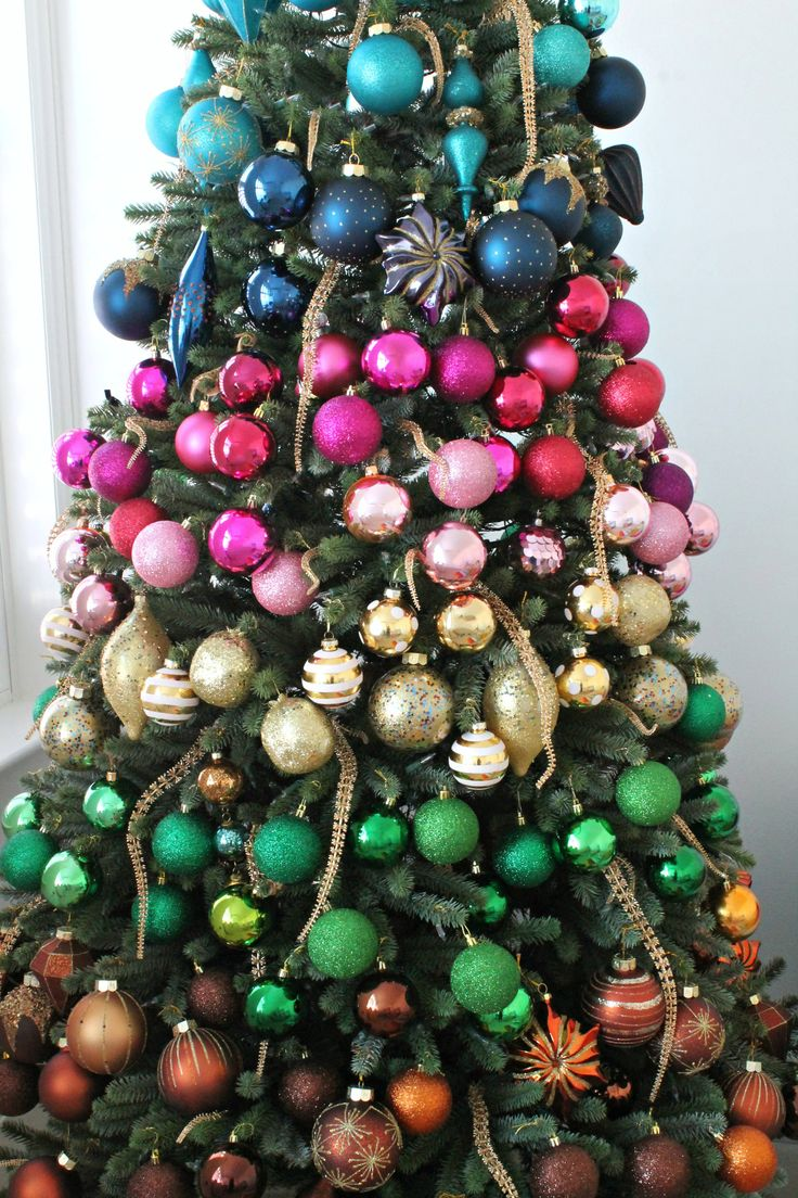 My Rainbow faux Christmas tree and baubles from Balsam Hill