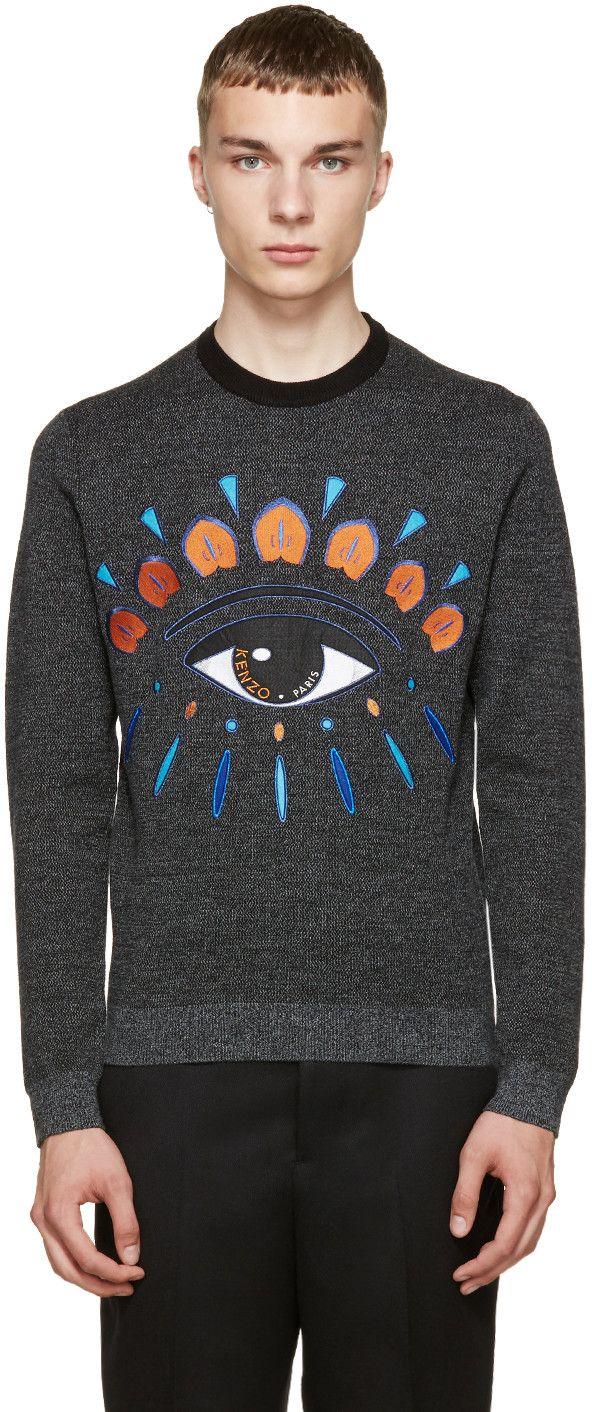 KENZO Grey Wool Embroidered Eye Sweater. #kenzo #cloth #sweater