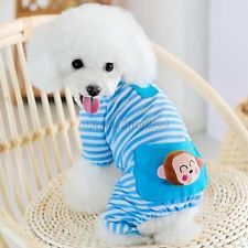 Small Pet Dog Stripes Pajamas Coat Cat Puppy Cozy Clothes Apparel Clothing