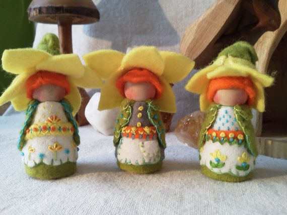 Daffodil Spring Gnome Waldorf Inspired Elf Faerie by paintingpixie, $42.00