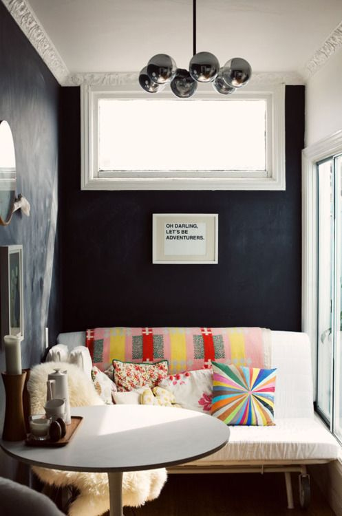 : Living Rooms, Kitchens Design, Breakfast Nooks, Interiors Design, Design Kitchens, Small Spaces, Chalkboards Wall, Dark Wall, Black Wall