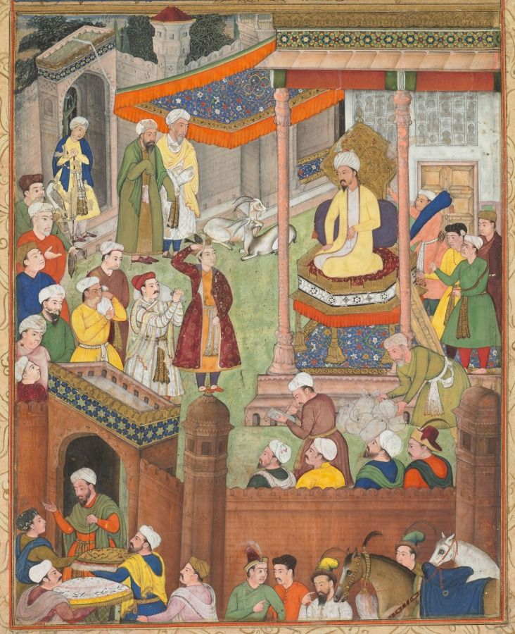 Babur receives booty and Humayun's salute after the victory over Sultan Ibrahim in 1526
