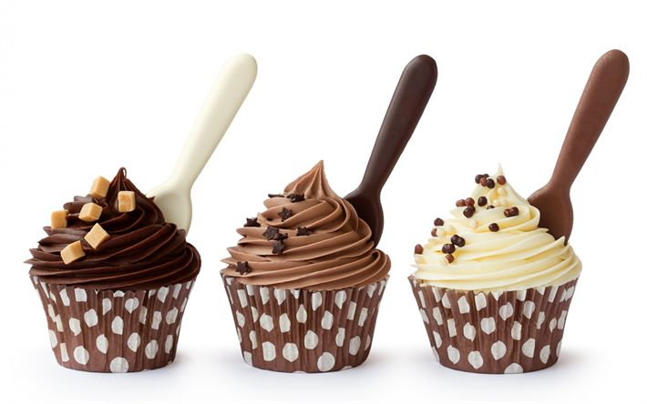 Download wallpapers cupcakes, sweets, cream, pastries, chocolate cupcakes