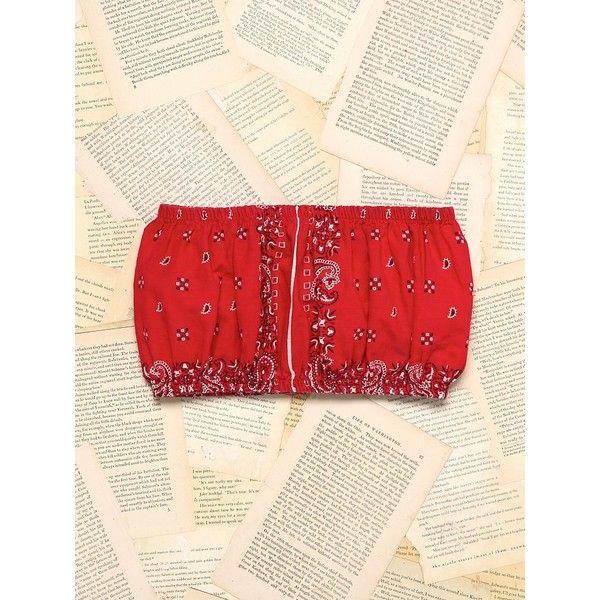 Free People Vintage Bandana Bandeau Top ($148) ❤ liked on Polyvore featuring tops, red, bandeau bikini top, red top, free people tops, 80s tops and free people