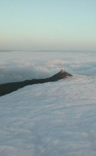 Ještěd in the sea of clouds (North Bohemia), Czechia