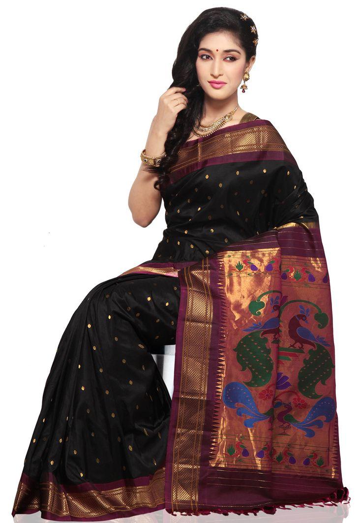 Black pure silk paithani saree.