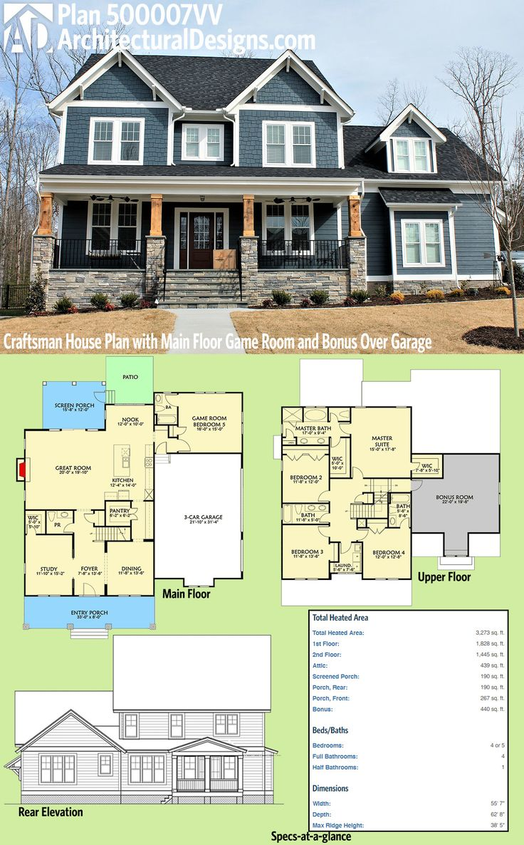 I woukd flip the downstairs only so the study is under the guest bedroom. Architectural Designs Craftsman House Plan 500007VV has a sturdy front porch with stone and timbers. Inside you get 4 to 5 beds, a main floor game room and a bonus room over the garage. Over 3,200 square feet of heated living space. Ready when you are. Where do YOU want to build?