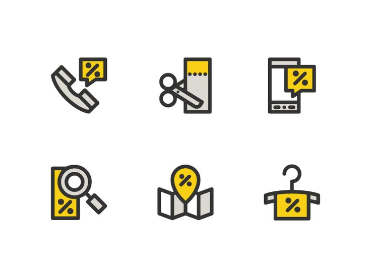 Set of discount icons, from the shopping pack icons, the line version is available on iconfinder.com and the color version will be available soon!
