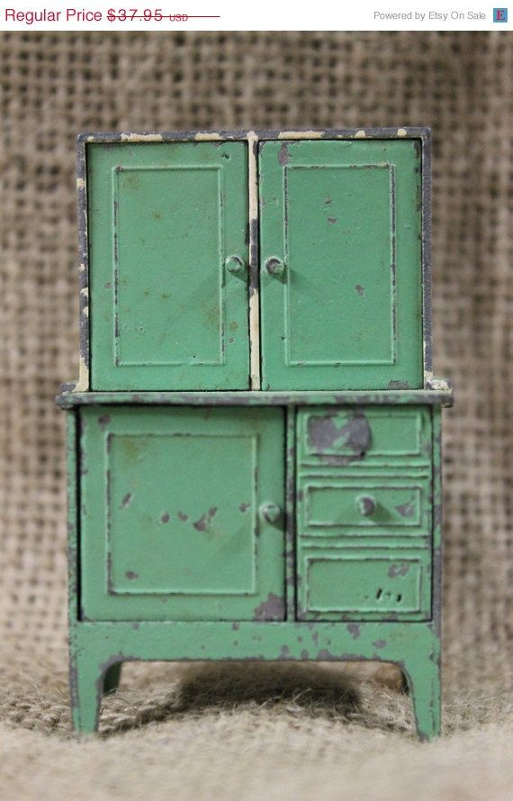 Vintage Dollhouse Furniture For Sale Part - 33: Tootsie Toy Vintage Metal Green Doll House Cabinet By OneReDunn