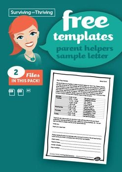 Sample letter to parents outlining expectations and a timetable for assisting in the classroom.