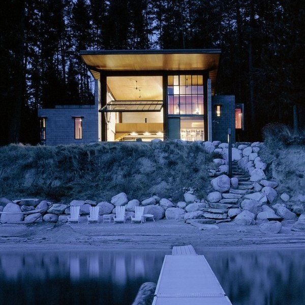 lake houseGarages Doors, Architects, Lakes House, Dreams, Modern Cabin, Glasses Wall, Architecture, Point Cabin, Chicken Point