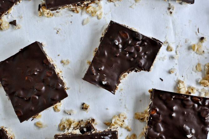 Thin & Chewy Chocolate-drenched Coconut Oatmeal Squares.