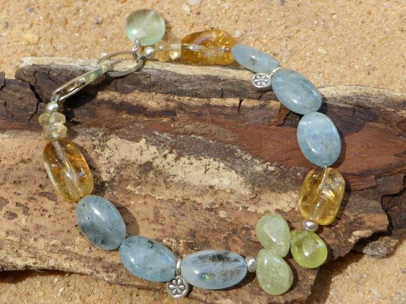 Aquamarine Citrine and Green Garnet Bracelet by Lapideum on Etsy