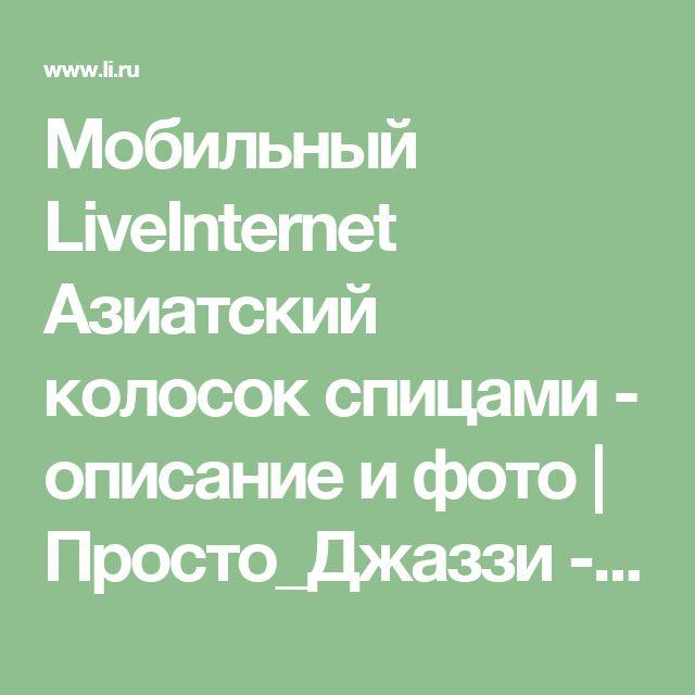 Мобильный LiveInternet Азиатский колосок спицами - описание и фото | Просто_Джаззи - Мои мысли... |