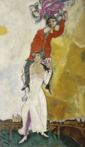 Marc Chagall  Belorussian, 1887-1985  Double Portrait with Wine Glass, 1917 – 1918  Oil on canvas  Paris, Musee National Art Moderne, Centre Georges Pompidou  Photo: © 2017 Artists Rights Society (ARS), New York / ADAGP, Paris