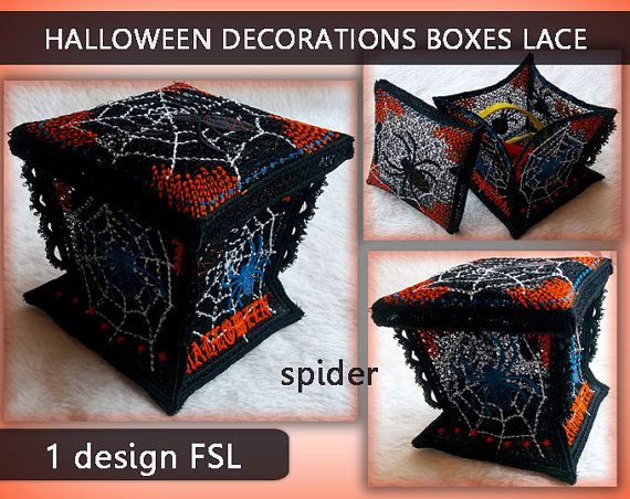 Halloween decorations boxes lace 3d - FSL -Machine embroidery…