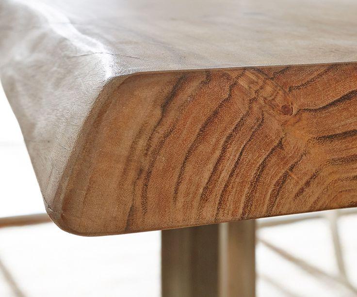 Baumtisch Live-Edge 200x100 Akazie Natur Platte 5,5cm Gestell schmal