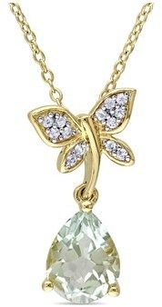 Laura Ashley Green Amethyst & White Sapphire Fashion Pendant.