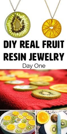 Resin Real Fruit Jewelry- Detailed tutorial about a DIY dehydrated fruit necklace pendant! This would make an AMAZING end of the year teacher present! Sells the necklaces on her etsy site too