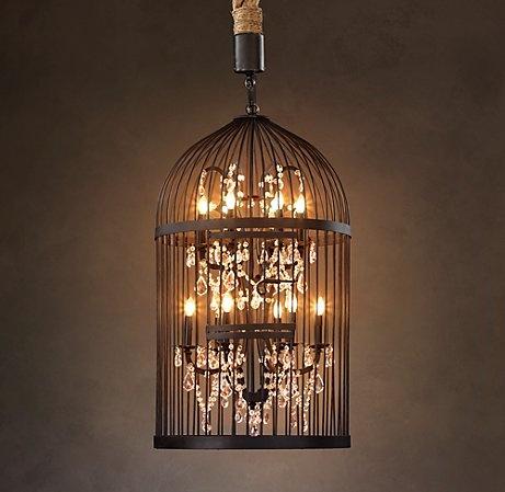 light fixture: Lights, Decor, Ideas, Restoration Hardware, Birds Cages Dyi, Chandalier Birdcages, Bird Cages, Birds Cages Chand, Birdcages Chandeliers